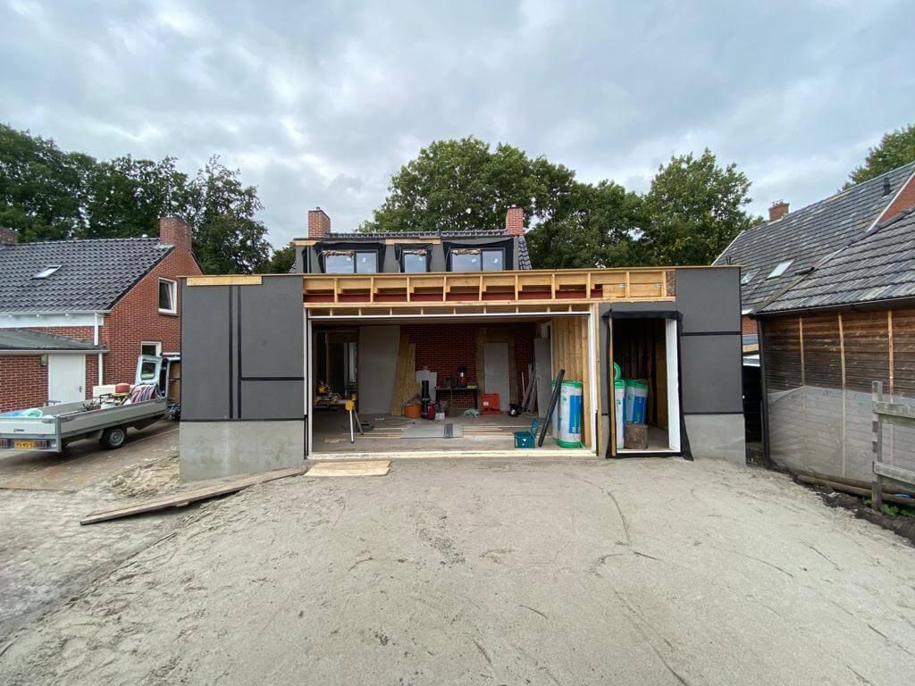 Aan- en verbouw woning Engelbert, tijdens bouw
